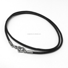 Latest Fashion Styles Unisex Black Leather Chain Necklace with Stainless Steel Lobster Clasp