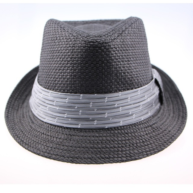Get Quotations · 2015 Brand Mens New Summer Style Sun Beach Plaid Panama  Black Striped Ribbon Wide Brim Foldable 02938c274d74