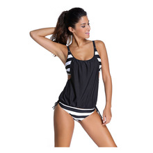 2016 Hot Sale Swimwear Women Stripes Lined Up Double Up Tankini Top Maillot De Bain Bathing Suit Swimsuit 2 Pieces Suits 41990