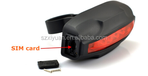 gps tracker bike with taillight design, waterproof and internal battery last for 30days xyb02
