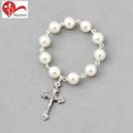 Factory supply religious Christian glass imitation pearls rose rosary beads decade bracelet for sale