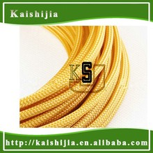 4mm Round High density Sleeving Gold Yellow PET Braided Expandable sleeve for PC cable protection
