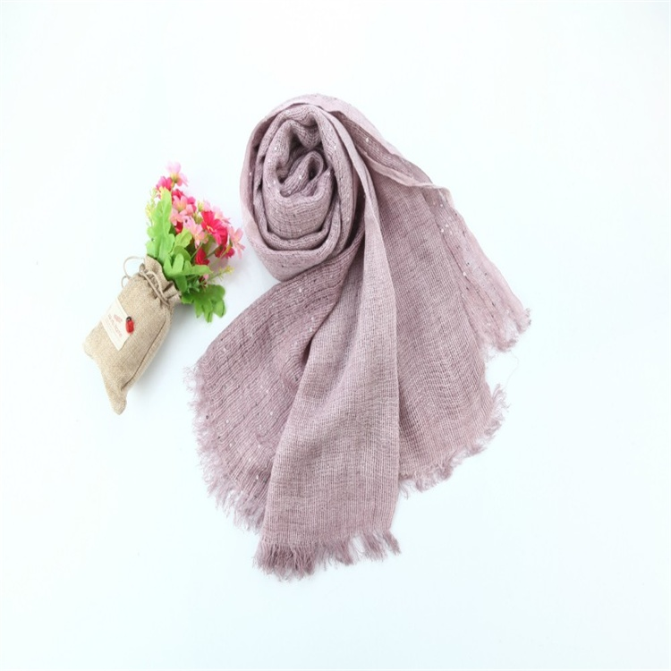 linen-like tassels solid color Muslim Hijab scarf stole shawl with sequins