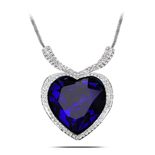 N166 Large Size Titanic Heart Necklace Women Silver Plated Jewelry Nickel Free Crystal Necklaces Pendants 2017 Fashion Jewellery