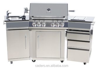 CBL-411(WBCB) gas grill with side burner and rear burner with rotisserie and sink