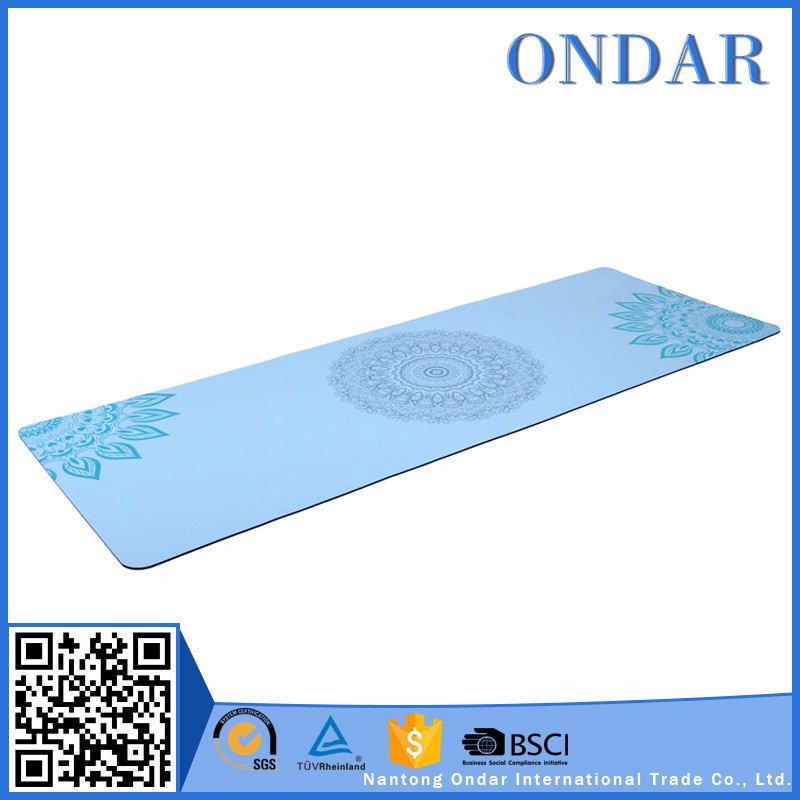 Custom logo different color best grip and cushioning natural rubber tree yoga mat