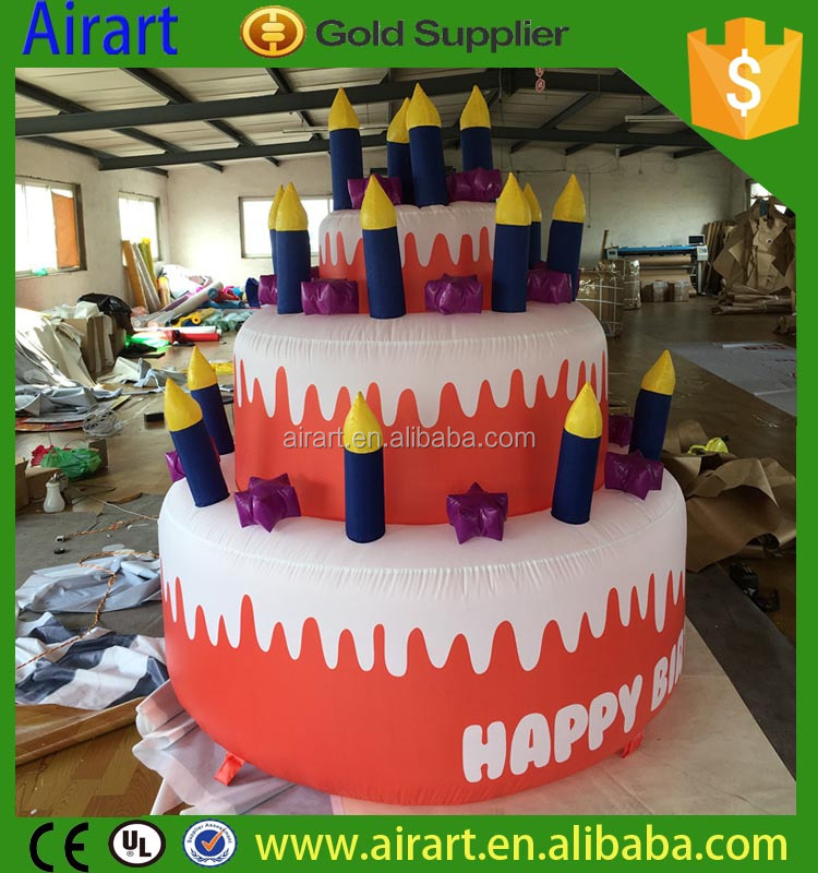 hot sale customized giant inflatable birthday cake model/inflatable replica for inflatable advertising