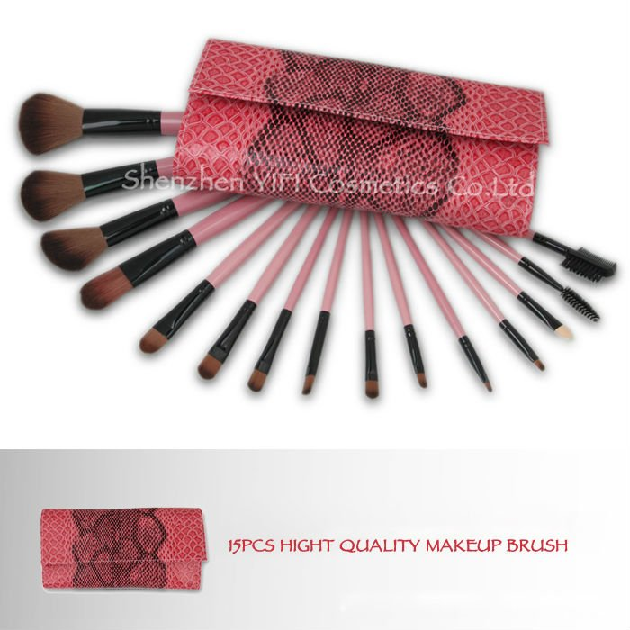 Hot Sale! Professional 15 pcs cosmetic brush pink snake case