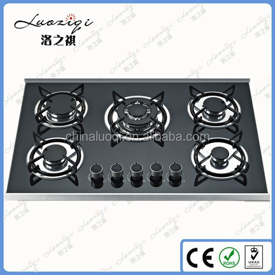 Built-in tempered Glass 5 burners gas stove/gas cooker for sale