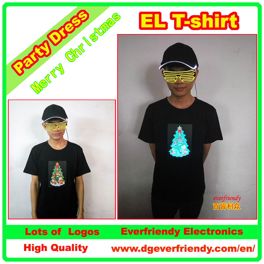 EL T-shirt Party Dress Light Up Christmas Tree Wear LED Flashing Cheering Clothes Equalizer T-qualizer Costume New Year's Gift