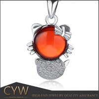CYW christmas ornaments cartoon figure cat style gemstone 925 sterling silver pendant wholesale