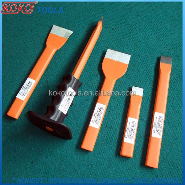 Point flat head steel masonry tools cold stone chisel with or no rubber holder for decorations