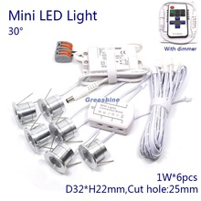 1W LED Down Light 110V Mini Recessed Cabinet Light 220V Spot light Dimmable with Dimmer Driver ,Cable ,Junction Box 6 lights/set