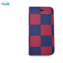 2015 New Design Denim Grid Pattern Leather Case For Pantech Sky VEGA LTE IM-A800S with Card slots and PVC ID slot