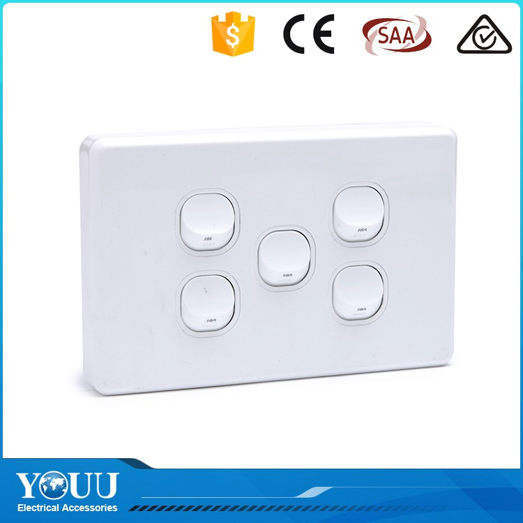 2017 High Quality Good Type SAA/IEC 230V 5 Gang Electrical Wall Switch