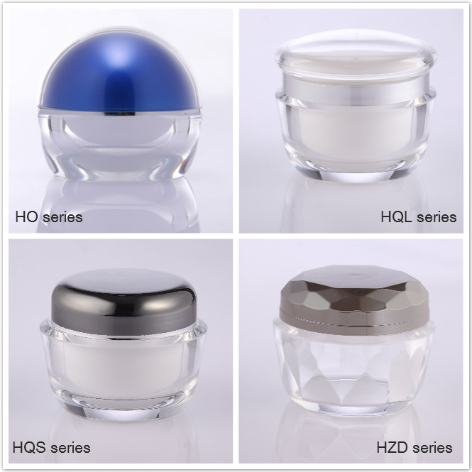 square acrylic cosmetic cream jars