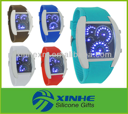 Free Sample silicone led watch blue led faceless watch