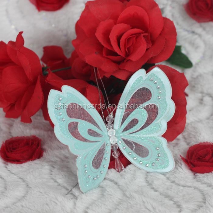 Special Colorful Glitter Wedding Card with Box Nice Butterfly Scroll Invitation