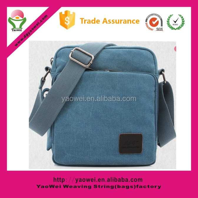 newest custom Durable bule shoulder strap canvas bag women men canvas messenger bag