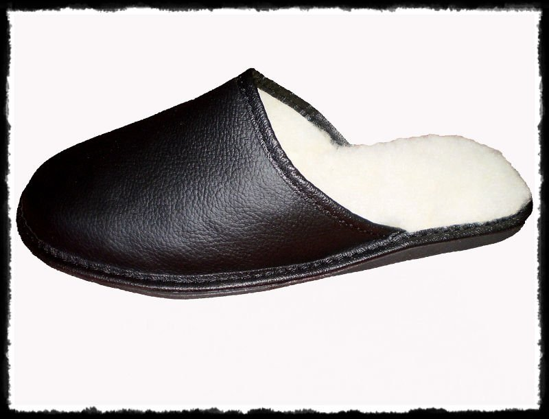 BLACK NATURAL LEATHER SLIPPERS WOOL INSOLE