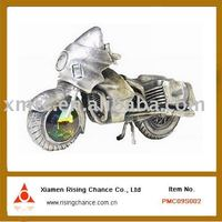 Shabby Chic Home Decor Antic Silver Plated Metal Motorcycle Model