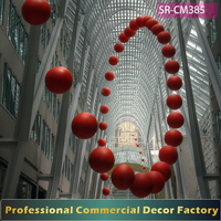 Custom commercial hanging red ball swing decoration for mall