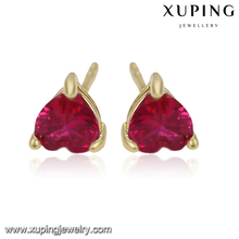 92390 xuping gold earrings designs for girls, 14k gold color white stone stud earrings, fancy stud earring
