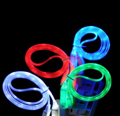 1M 3FT Visible LED Light Micro USB Sync Data Connector Cable Charger For Samsung Galaxy S3 S4 HTC Blackberry Nokia Charging Adap