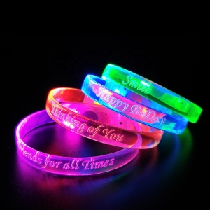 Glow In The Dark Christmas Party Sound Activated Light Up Flashing Wrist Band Led Bracelets For Events