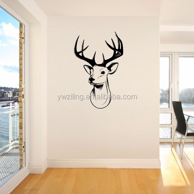YA415 Cheap Stags Head Deer trophy antlers steer Giant Wall Sticker Vinyl Art Decal Stencil Door Room Decoration