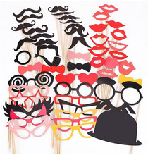 50PCS Colorful Props On A Stick Mustache Photo Booth Party Photo Props Fun Wedding Christmas Birthday Favor New Design