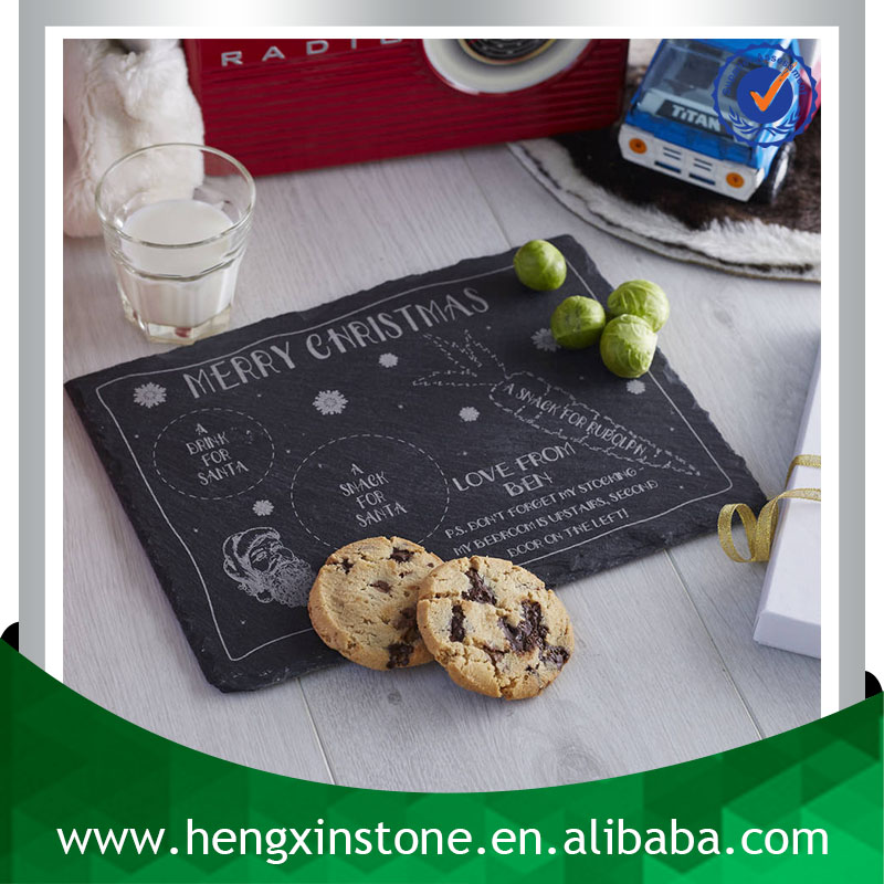 Handmade Wholesale Natural Edge 30*20*0.5cm Rectangle Black Personalised Decorative Slate Stone Cheese Cutting Board Set