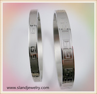China fashion jewelry wholesale couple greek key pattern stainless steel european bracelet
