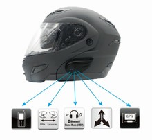 Waterproof motorcycle helmet bluetooth headset with 800m intercom and audio input supported