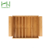 High quality Factory new design wholesale Kitchen bamboo expandable cutlery tray drawer organizer box
