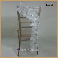 C025L New arrival organza material to make white chair covers