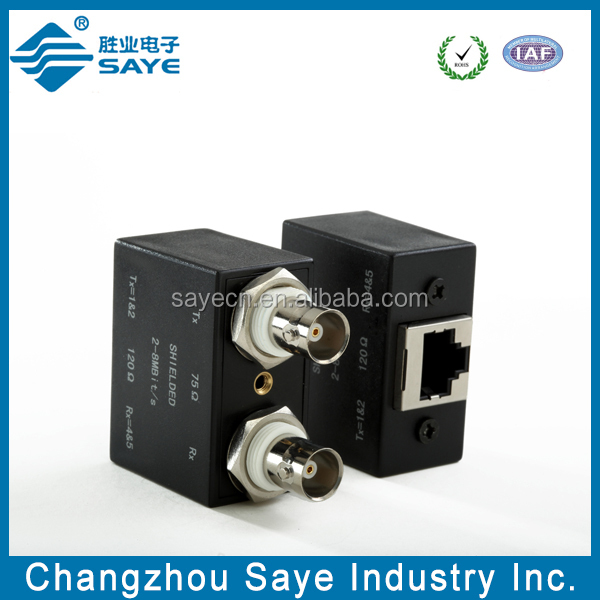 Dual shielded isolated females to rj45 bnc balun box
