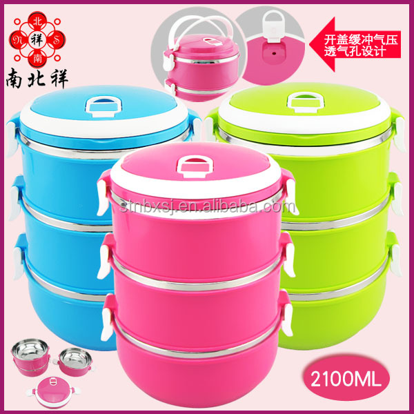 3 compartment Stainless Steel Hot Round Lunch Box