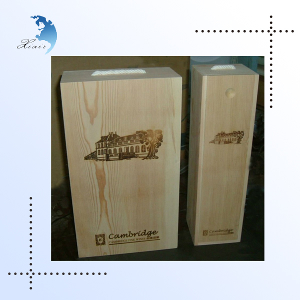 new design hot sale cheap pine wood wine box with wine accessories for sale
