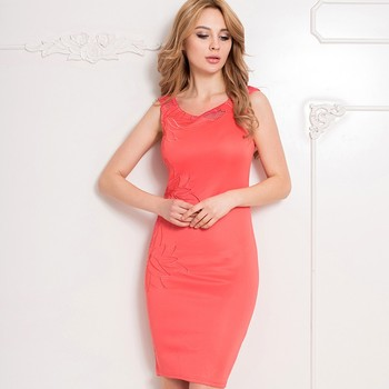 Latest hot red color sexy bodycon style fashion dress