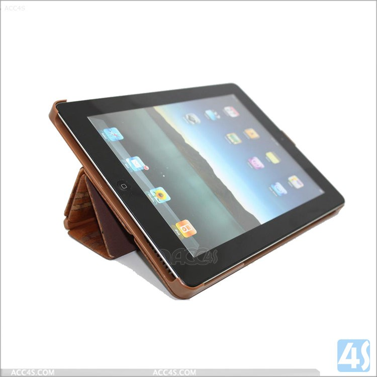 Shockproof wood case for tablet case for iPad 2 3 4,Three Folding woven PC Case Wood + PU Leather Case for Apple iPad 2/3/4