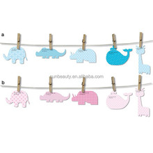Manufacturer baby shower card paper garland with woodjack for decoration