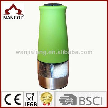 Electric Light Dual Rubber Coating Salt And Pepper Grinder