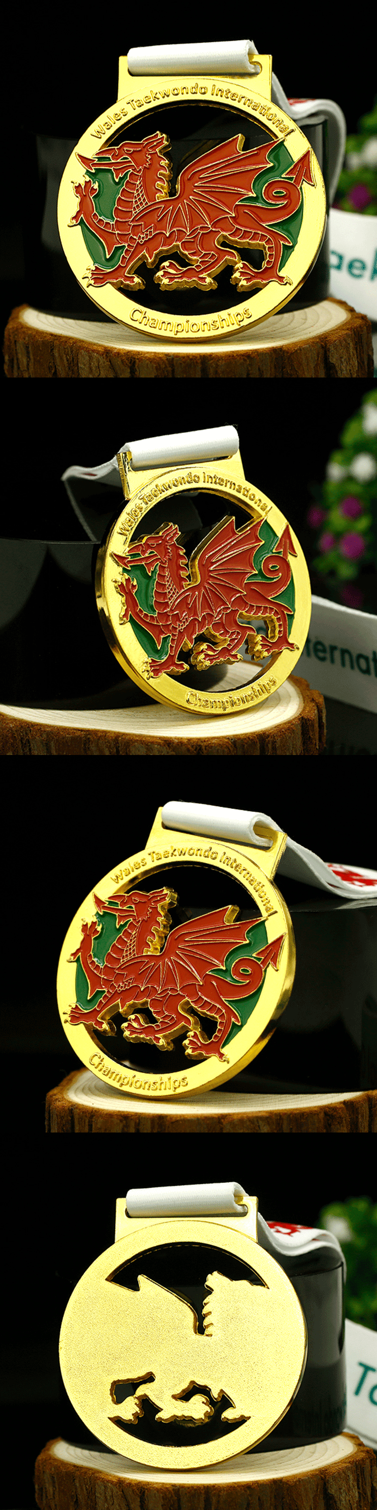 Factory cheap cut out metal taekwondo gold championship medals