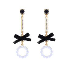 ed01756c Gold Plated New Design Dangle Earrings Jewelry Wholesale Women Black Lace Knot Pearl Earrings