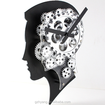 Design patent strong brain gear clock wall clocks for promotion gifts and doctor office