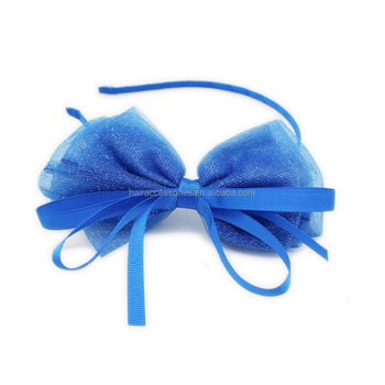 Blue Glitter Net Bow HeadBand Ribbon Hair band for Girl