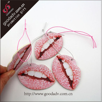 Sexy Lips Design eco-friendly paper car freshener/ car air fresheners with own logo