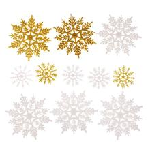 12Pcs Tri-color Glitter Snowflake Christmas Decoration Plastic Glittered Hanging Christmas Tree Pendent Drop Ornaments