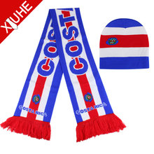 wholesale low price silk knitted Double side football scarf and hat